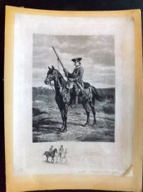 Jules Jacquet after Meissonier 1902 Pencil Signed Etching. Soldier on Horseback
